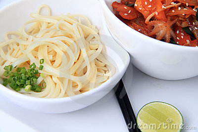 Asian noodle with baby octopus