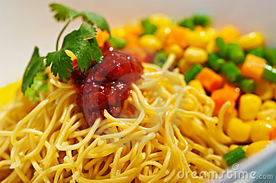 Asian noodle with  sauce and vegetables