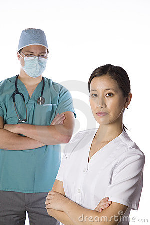 Asian nurse and doctor isolate