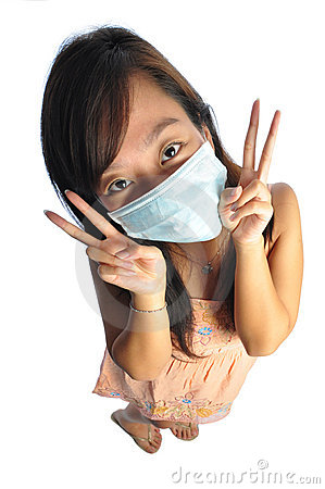 Asian nurse with mask acting cutely