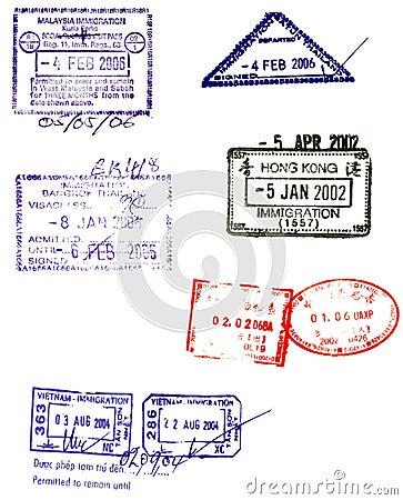 Free Asian Passport Stamps Vectors Stock Photos - 3442223