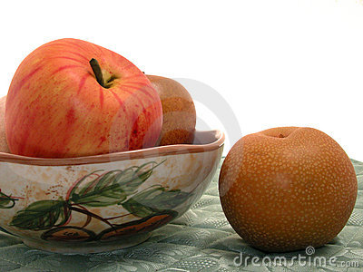 Asian Pear & Fruit Bowl on Placemat