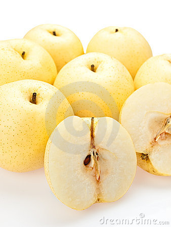 Asian pears sliced open