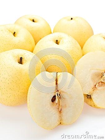 Asian pears sliced open