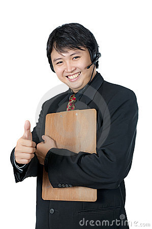 Asian Phone Operator Thumb Up