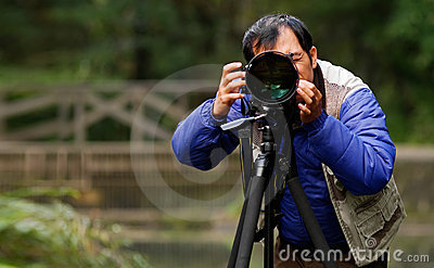 Asian photographer in outdoor
