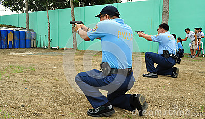 Asian police shooting practice Editorial Photo