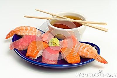 Asian Raw Fish Sushi Dinner w/ Shrimp Tuna Salmon