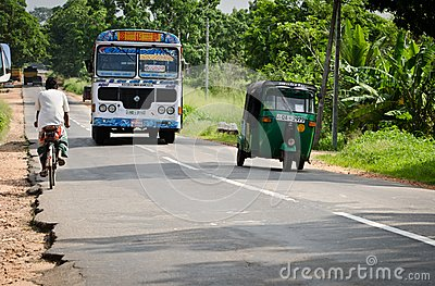 Asian regular public bus in Sri Lanka on a road Editorial Photography