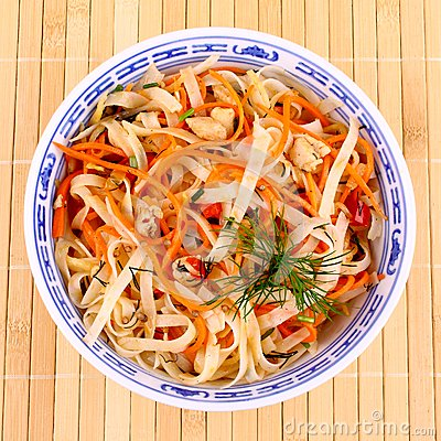 Free Asian Rice Noodle Salad With Chicken Meat And Carrots Royalty Free Stock Photo - 30024685