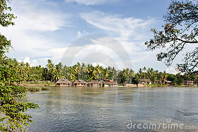Asian river village