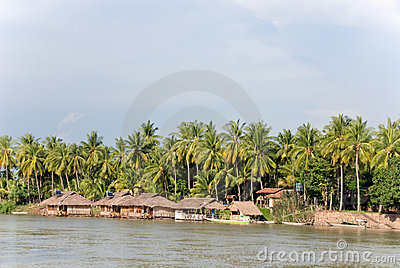 Asian river village