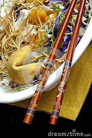 Free Asian Salad With Chopsticks Stock Photography - 4684612