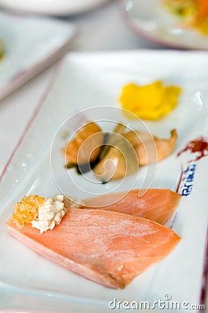 Asian salmon slices