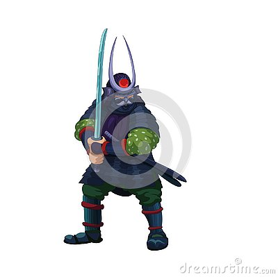 Asian samurai warrior preparing for a fight Vector Illustration