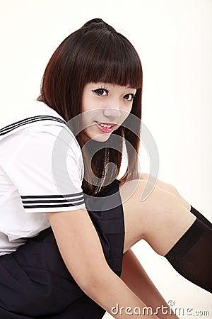 Asian schoolgirl.