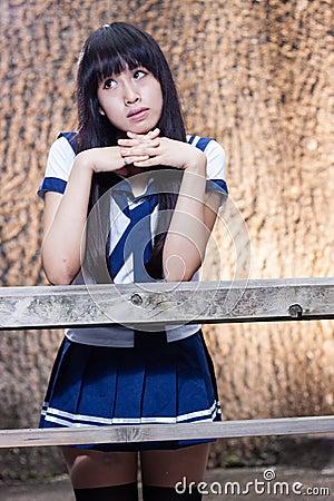 Free Asian Senior High Schoolgirl Royalty Free Stock Image - 55476126