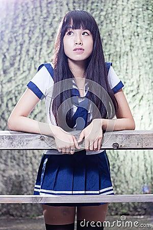 Free Asian Senior High Schoolgirl Stock Photos - 55476223