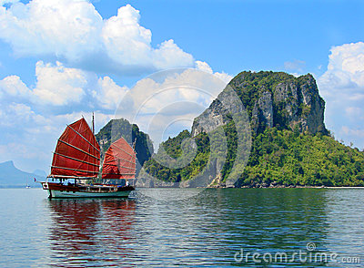 Exotic asian ship with red sails