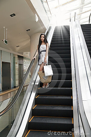 Asian shopping girl on elevator.