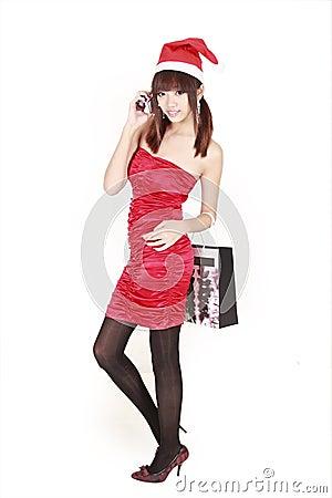 Asian shopping santa girl