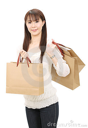 Asian shopping woman