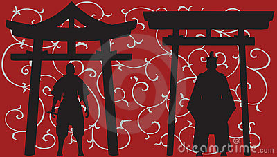 Asian silhouettes.