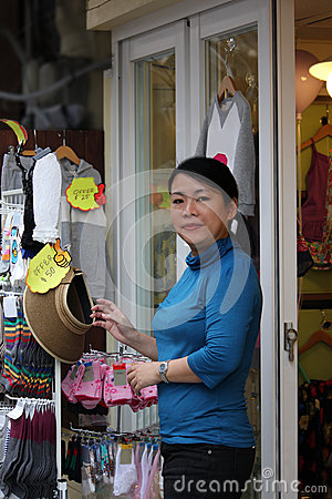 Asian small business woman, shop owner