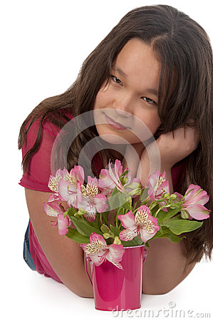 Asian smiling girl with pink flowers