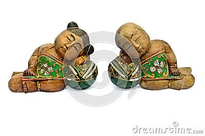 Asian souvenir Dolls made of wood