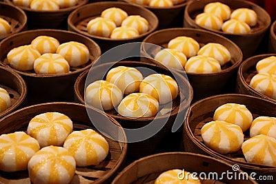 Asian street food: Steamed Chinese dumplings
