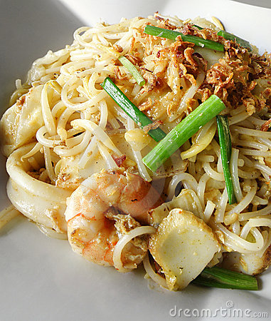 Asian street food, stir fry noodles