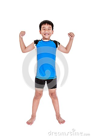 Free Asian Strong Boy Is Flexing His Biceps Muscle. Isolated On White Royalty Free Stock Images - 100659439