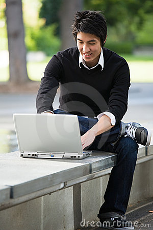 Free Asian Student And Laptop Royalty Free Stock Photo - 6820255