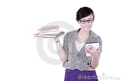 Asian student with books and digital tablet