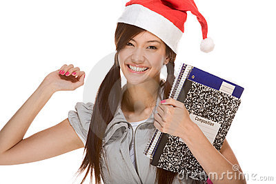 Asian student girl in Christmas Santa hat