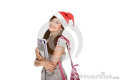 Asian student girl in Christmas Santa hat