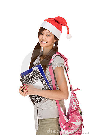 Asian student girl in Christmas Santa hat and bag