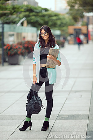 Free Asian Student Girl City Portrait. Royalty Free Stock Photos - 81899908