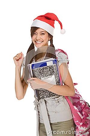 Free Asian Student Girl In Christmas Santa Hat Royalty Free Stock Photos - 10211348