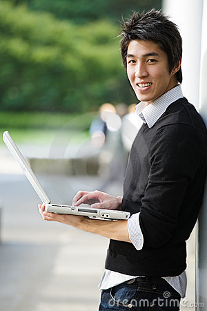 Free Asian Student With Laptop Stock Images - 6006344
