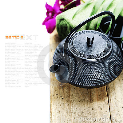 Free Asian Tea Set And Spa Settings Royalty Free Stock Image - 23044396