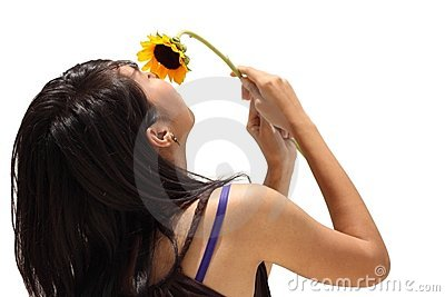 Asian teen girl smell flower