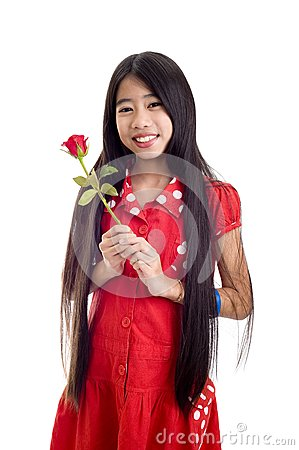 Asian teenager holding a rose
