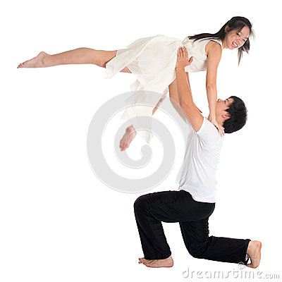 Asian teens couple contemporary dancers