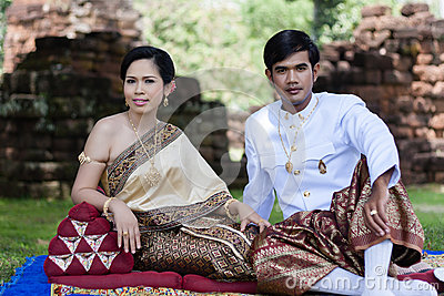 Asian thai couple bride and bridegroom