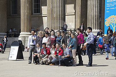 Asian Tourists at the British Museum Editorial Stock Photo