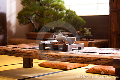 Asian traditional tea on an old rustic table