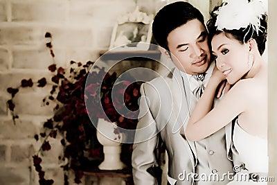 Asian wedding couple show concept of love