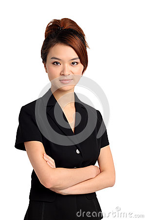 Asian woman with arms folded